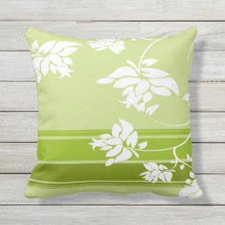 White Floral Silhouettes on Gold Outdoor Pillow