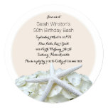 White Floral Starfish Birthday Party Invitation