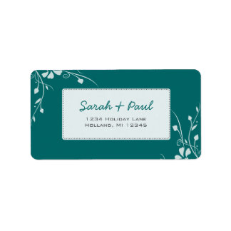 White Floral Swirls on Your Color Address Label