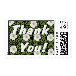 White Floral Thank You Stamps