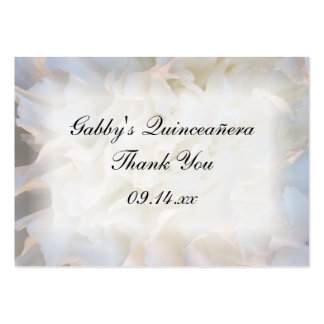 White Floral Thank You Quinceañera Favor Tags Large Business Cards (Pack Of 100)