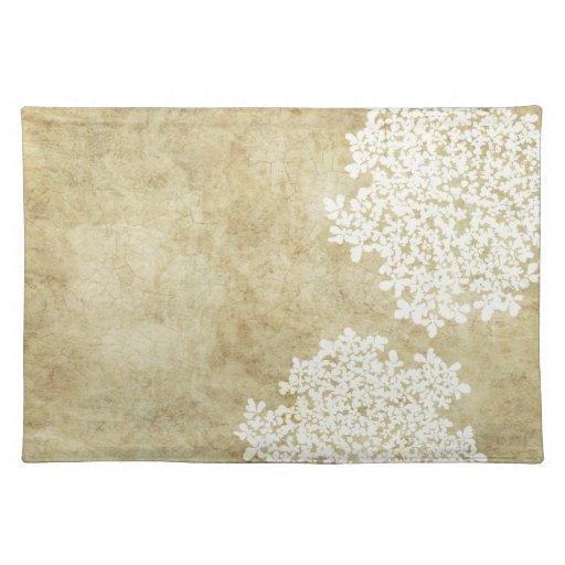 white floral vintage placemats
