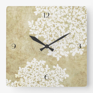 White Floral Vintage Square Wall Clock