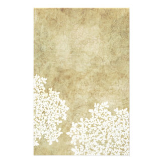 White Floral Vintage Stationery