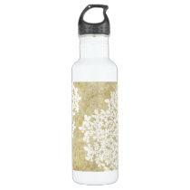 White Floral Vintage Water Bottle