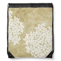White Floral Vintage Wedding Drawstring Backpack