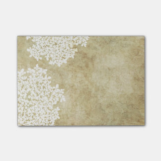 White Floral Vintage Wedding Post-it® Notes