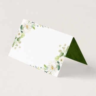 White Floral Watercolor Table Place Card