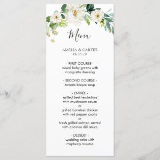 White Floral Watercolor Wedding Menu