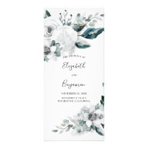 White Floral Watercolor Wedding Programs
