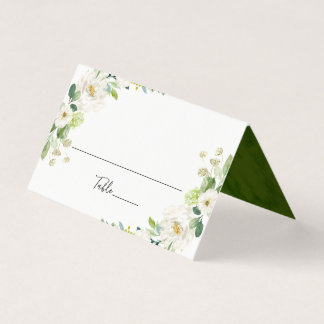 White Floral Watercolor Wedding Table Place Card