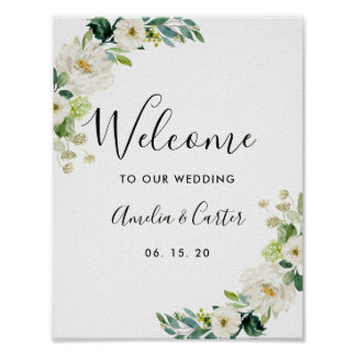 White Floral Watercolor Wedding Welcome Sign