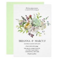 White Floral Wedding Invitation