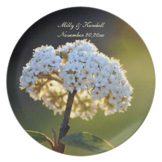 White Floral Wedding Keepsake Plate
