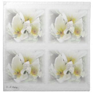 White Floral Wedding Napkins