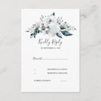 White Floral Wedding RSVP