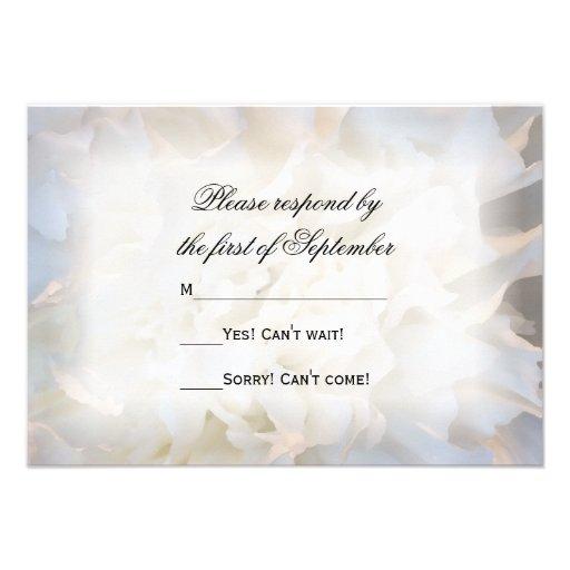 White Floral Wedding RSVP Response Card Custom Announcements