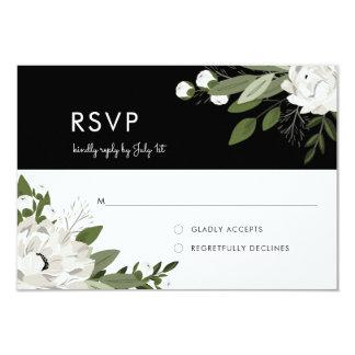 White Floral Wedding Sprigs - RSVP Card