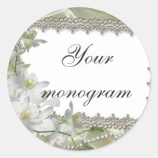 White Floral Wedding Theme Envelope Seals Labels