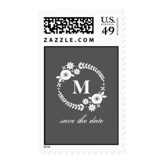 White Floral Wreath & Monogram Save The Date Postage