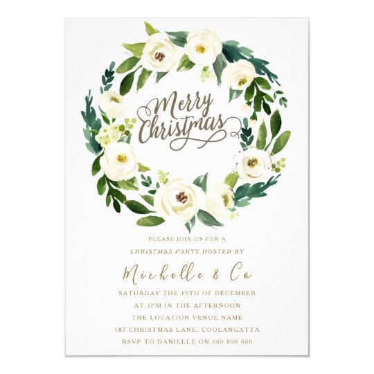 white floral wreath office family christmas party invitation