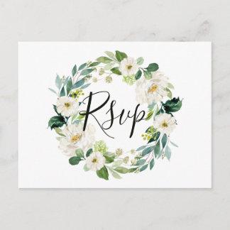 White Floral Wreath Wedding RSVP Postcard
