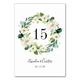 White Floral Wreath Wedding Table Number