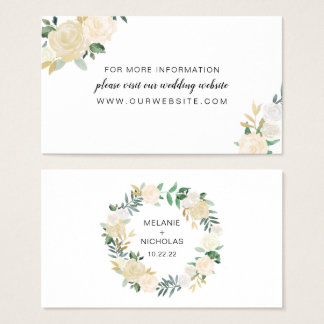White Floral wreath wedding website or info card
