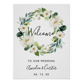 White Floral Wreath Wedding Welcome Sign