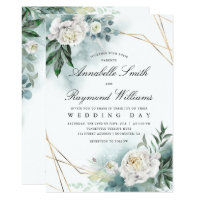 White Florals Gold Frame | Peony Wedding Invitation