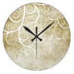White florals on beige grunge background clock
