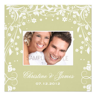 White florals on khaki wed invitation & your photo
