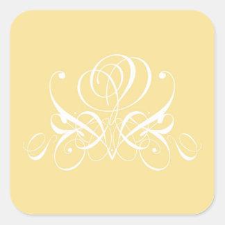 White Flourish Rose Design Square Sticker