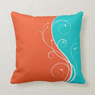 White Flourish Throw Pillows