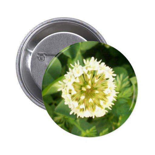 White Flower 2 Inch Round Button