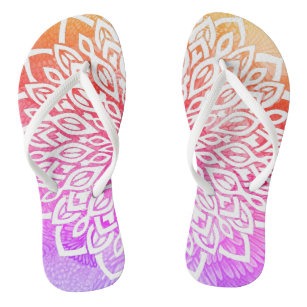 c61cef8a2e13 White Flower Abstract Mandala Pastel Rainbow Flip Flops