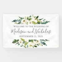 White Flower and Green Wedding Banner Decoration