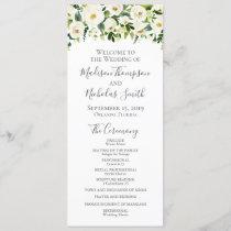 White Flower and Green Wedding Program Cards