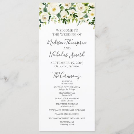 White Flower and Green Wedding Program Cards