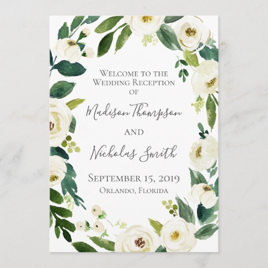 White Flower And Green Wedding Reception Programs