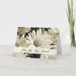 White Flower Best Friend Bridesmaid Thank You Card