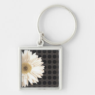 White Flower Black Dots Silver-Colored Square Keychain