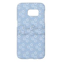 white flower blue back pattern samsung galaxy s7 case