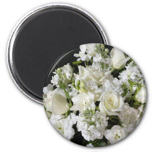 White Flower Bouquet 2 Inch Round Magnet