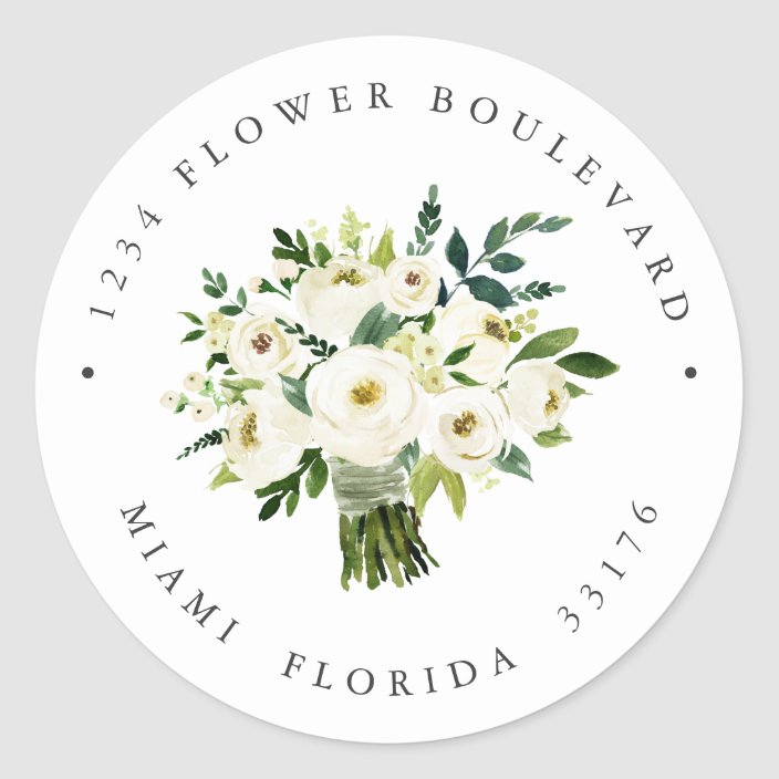 White Flower Bouquet Botanical Return