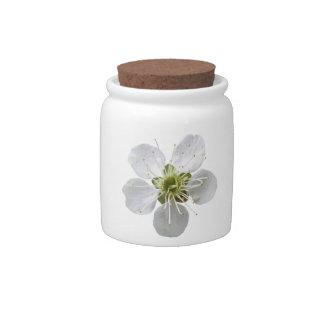 White Flower Candy Jar