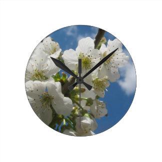 White Flower Round Wall Clock