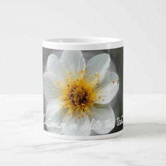 White Flower Dream; Customizable 20 Oz Large Ceramic Coffee Mug