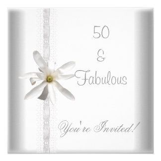 White Flower Fabulous 50th Birthday Party Lace Card