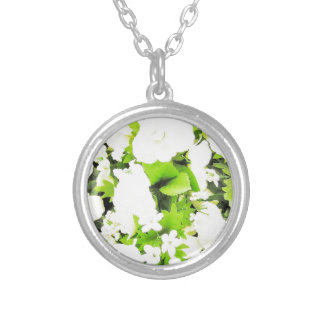 White Flower Floral Nursery Peace Cute Superb nice Silver Plated Necklace